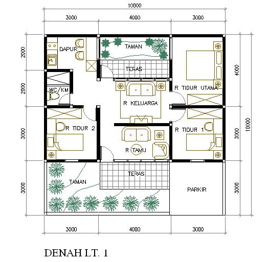 Desain Rumah di Lahan 100 M2 denah